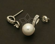 SI-446-OR / 2 Pcs - Single Link Pearl Cup Earring Findings, Silver Plated, with .925 Sterling Silver Post / 14mm