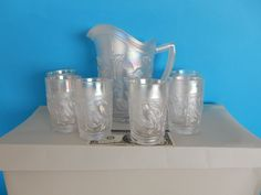 New Imperial IG Vintage Robin White Carnival Glass Pitcher 6 Tumblers | eBay