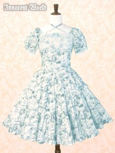 Brand:  Innocent World Item Type:  OP Price:  ¥20,790 Year:  2011 Colors:  Blue Features:  Back shirring, Detachable waist ties, Tiered skirt, Neck ties Other notes:  100% cotton / printed pattern of an angel  Sleeve length: 22 (1.5cm of lace) Cuff: 27 Skirt length: Short 58 // Long 71  Bust:  87.3-119.3 Waist:  69-100 Length:  110.5