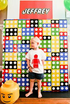 Awesome Lego party! See the 'Lego' candy dots, Lego photo booth, printables, edible Lego cupcake toppers, Lego pops & cookies & more!