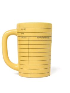 Look what I found from Out of Print! Library Card yellow mug – Out of Print #OutofPrintClothing