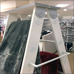 Add just a tad more vertical merchandising space with a simple concept like this Plush Bath Towel Step Ladder Display. Ladder Display, Big Peach, Visual Merchandising, Bath Towels, Plush, Retail, Retail Merchandising