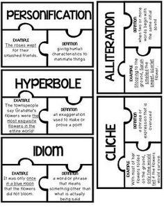 Figurative Language Puzzles {FREEBIE} Great independent center activity!