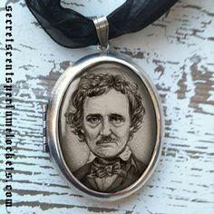 Perfume Locket Pendant    Edgar Allan Poe  Silver by brigidashwood