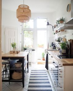 A Rental Becomes a Charming, Budget-friendly Famil. - A Rental Becomes a Charming, Budget-friendly Family Home my scandinavian home: A Rental Becomes a - Kitchen Rug, Kitchen Interior, Kitchen Decor, Cooking On A Budget, Scandinavian Home, Küchen Design, Home Kitchens, Home And Family, Sweet Home