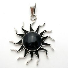 Sterling Silver Black Onyx Sun Slide Pendant Large Gemstone Mexican Jewelry 925 #TheJewelryLadysStore #Sun