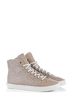 deze sneaker is van het merk Esprit, beige van kleur gecombineerd met een dierenprint - Sluimer schoenen