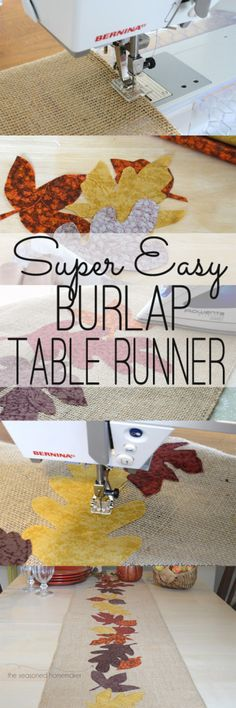 Burlap Thanksgiving Table Runner is easy and inexpensive. Anyone can make this. www.seasonedhomemaker.com