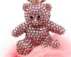 Pink Crystal Bear Key Chain Key Ring with Rabbit Fur Trim