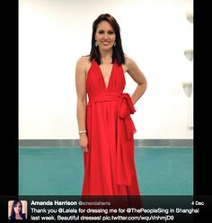 "Press | Leiela Ladies Evening Wear Amanda Harrison's tweetpic looking stunning in Leiela's Alidi Dress at the ""Do You Hear The People Sing?"" Tour 2013"
