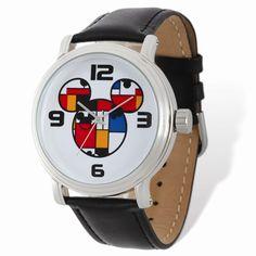 Disney Adult Size Colorblock Mickey Black Lthr Watch