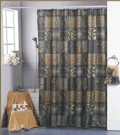 Shower Curtain Animal Safari LEOPARD Zebra Design Print With Hooks Kids  Curtains, Http:/