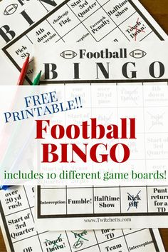Football Bingo is the perfect kids activity for the big game. This FREE Printable pack comes with 10 different game boards!