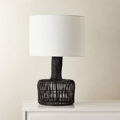 Wicker Black Table Lamp + Reviews | CB2 Wicker Table, Metal Table Lamps, Black Table Lamps, Lamp Table, Wood Table, Glass Floor Lamp, Bronze Floor Lamp, Contemporary Table Lamps, Modern Table