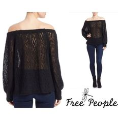 FREE PEOPLE  Lights Will Shine sweater Free people Lights Will Shine off the shoulder black lightweight oversized sweater. Can be worn off the shoulder as styled or as a scoop neck. Acrylic/nylon/wool and alpaca knit. Very soft. Brass FP tag is unstitched on one side. NWOT Free People Sweaters Crew & Scoop Necks