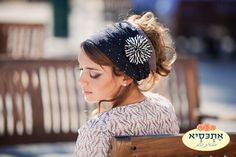 Navy headscarf with flower accessory