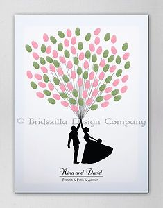 Personalised Fingerprint Tree / Balloon Wedding Party Canvas Art - Guest Book | eBay