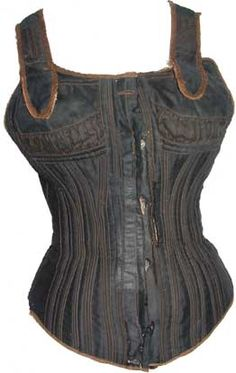 Gage-Downs corsetwaist    C.1885-1895. A black sateen corsetwaist made by Gage- Downs (often abbreviated to GD).    Corsetwaists were hailed as a healthier alternative to a traditional boned corset. They often had high busts with shoulder straps to support the breasts and back and could either have a traditional busk front closure or buttons. Corsetwaists relied more on cording than boning for figure support. They were popular amongst working class women as they gave a contemporary figure…