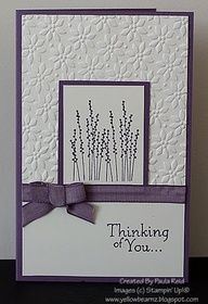 Monochromatic sympathy card  so simple and beautiful---with Stampin ups pocket silouette stamp and petals a plenty embossing folder