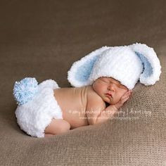 Bunny Baby Bop For Baby Boys Hat and Diaper Cover...he doesn't look pleased hahaha