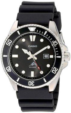 Casio Men's Dive-Style Black Analog Anti Reverse Bezel Watch Black MDV106-1A #Casio #Casual