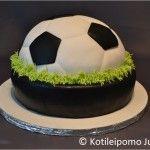 Jalkapallo- / jääkiekkokakku Hockey Cakes, Gateaux Cake, Football, Fondant Cakes, Ice Hockey, Soccer Ball, Deserts, Cupcakes, Gabriel