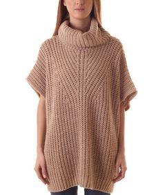 Beige Turtleneck Wool-Blend Poncho #zulily #zulilyfinds