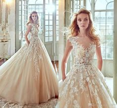 Nicole Spose 2017 New Light Champagne Lace Church Ball Gown Wedding Dresses Luxury Lace Applique Sheer Neck Tiered Skirt Bridal Gown Gorgeous Wedding Dresses Plus Size Bridal Gowns From Gaogao8899, $148.75| Dhgate.Com
