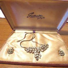 vintage Scitarelli Parure Earrings Necklace Rhinestone Set  and box