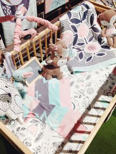 Omg I love this bedding and colors - Crib Bedding from Living 63 ABC Kids Expo 2014