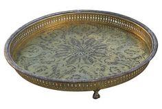 Handmade Moroccan Brass Tray on Chairish.com