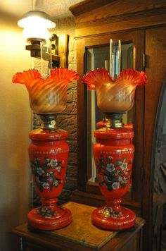 Victorian opaline glass oil lamps