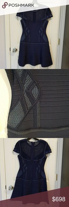 AUTH Herve Leger Navy Dress Size M Medium Pristine AUTHENTIC Herve Leger Navy Fit-n-Flare Dress Size M Medium. Worn once for few hours. Pristine condition. No signs of wear. From a pet free, smoke free home. Purchased at Herve Leger boutique. Herve Leger Dresses Mini