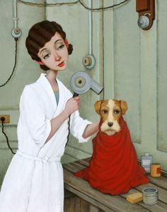 Behind the Scenes -Fred Calleri Illustrations, Illustration Art, Man Beast, Creation Photo, Romantic Images, Wire Fox Terrier, Art Themes, Animation, Whimsical Art