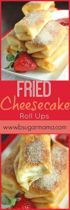 Fried Cheesecake Roll-Ups made with a sweet and easy cream cheese filling and wrapped in soft tortilla shells. Fry these fried cheesecake rolls ups and dust with cinnamon sugar for perfection! Cheesecake Roll Recipe, Fried Cheesecake, Breakfast Cheesecake, Strawberry Cheesecake, Pavlova, Easy Desserts, Dessert Recipes, Cinnamon Desserts, Deep Fried Desserts