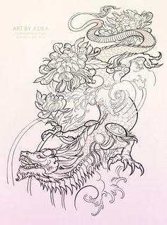 Art by Asika Photos Leg Tattoos, Arm Tattoo, Body Art Tattoos, Sleeve Tattoos, Dragon Tattoo Sketch, Dragon Tattoo Designs, Dragon Tattoo Outline, Tattoo Design Drawings, Tattoo Sketches