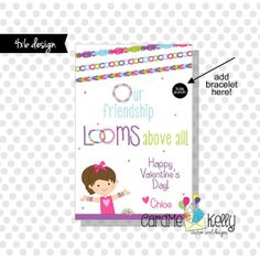 Printable Rainbow Loom Bands Girlie Friendship Bracelet Valentines Day Cards