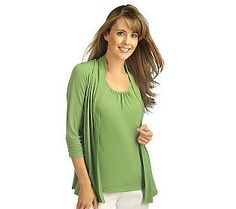 Pin to Win #SusanGraver Sweepstakes! {Liquid Knit Cardigan and Tank Set with Ruched Sleeves} Enter here: http://sweeps.pinfluencer.com/QVC
