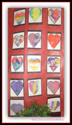 Kindergarten Water Color Hearts for Author School Visit with Debbie Clement