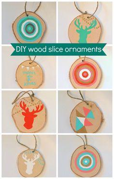 christmas ornament craft - DIY wood slice ornaments