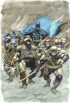 NEIL ADAMS - Batman / Teenage Mutant Ninja Turtles #1 crossover variant cover DC Comics, IDW Comics