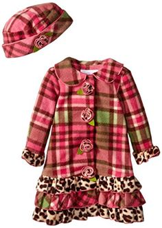 Bonnie Baby BabyGirls Infant Printed Plaid Fleece Coat and Hat Set Coral 12 Months *** Check this awesome product by going to the link at the image.