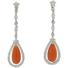 Coral 1.20ctw Diamond Long Drop 18k Gold Earrings