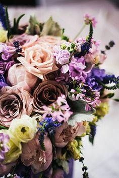 Mauve and purple arrangement | Photo by Jesse Holland | Floral design by Verbena
