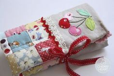 Sewn Cherry Quilted Case for Crochet hooks #CherryHeart #Cherry #Quilted