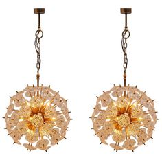 Belgian Brass And Crystal Glass Sputnik Chandelier 1970 | From a unique collection of antique and modern chandeliers and pendants  at http://www.1stdibs.com/furniture/lighting/chandeliers-pendant-lights/