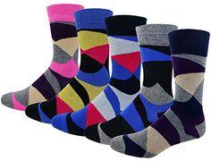 Patterned Coloured Casual Socks Diamond Pattern Cotton Socks for Men