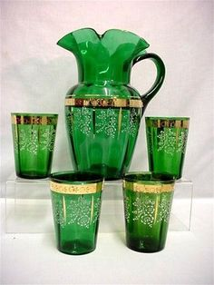 pitcher and glass sets | Lemonade or Water Set Antique American Glass Pitcher and 4 Glasses ...