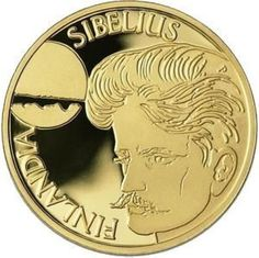Commemorating the most respected Finnish composer. The opening bars of the Finlandia Hymn are engraved on the reverse side and the young Sibelius is depicted on the obverse side. Classical Music Composers, Euro Coins, Romantic Period, World Coins, Retro Vintage, Notes, Stamps, Banknote, Design