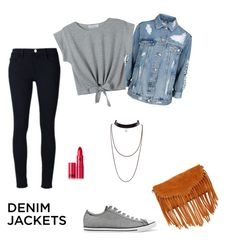 """""""Freedom"""" by chimizmorales ❤ liked on Polyvore featuring Frame Denim, Topshop, Converse, SUSU, Lipstick Queen, WithChic, denimjackets and WardrobeStaples"""